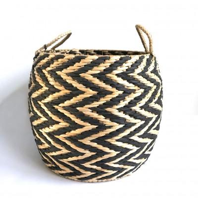 Košara iz ločja - natur/črna