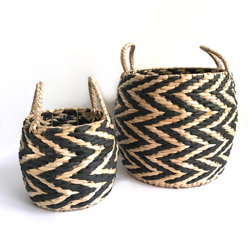 Set košar iz ločja - natur/črna