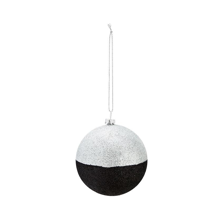 Božični okrasek srebrne in črne bleščice